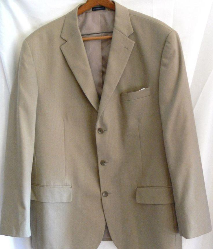 STAFFORD 44R Blazer Khaki Beige Sport Coat 3 Button Suit Jacket Pocket Square #Stafford #ThreeButton