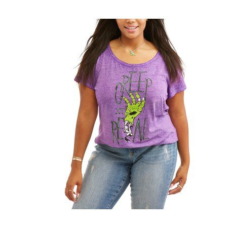 Plus Size Rocker Girl Junior's Plus Burnout Scoop Neck Halloween Tee, Size: 1XL, Purple
