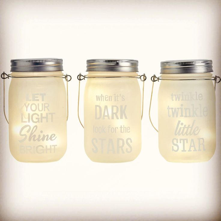 LED jam jar lights with quotes