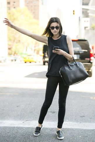 Women's Black Sunglasses, Black Tank, Black Leather Tote Bag, Black Skinny Jeans, and Black Leather Slip-on Sneakers