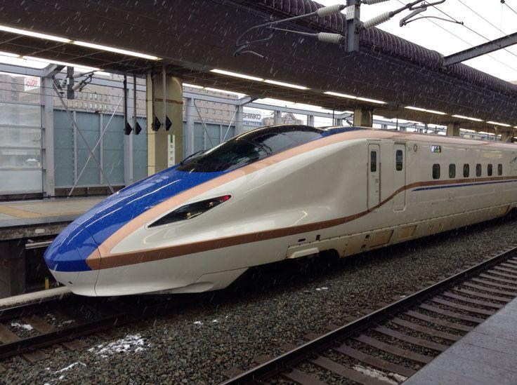 "This bullet train call Nagano Hokuriku Shinkansen""長野新幹線 & 北陸新幹線"". Runs to Hokuriku via the Nagano from Tokyo Station.This bullet train is start running from March 14, 2015 to Hokuriku."
