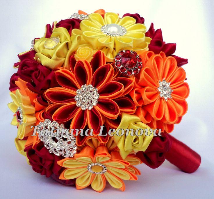 Fabric Wedding Bouquet Brooch bouquet red yellow orange 7 by LIKKO