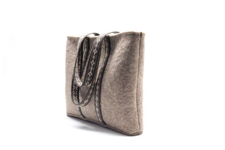 handmade felt tote bag with handwoven shoulder straps