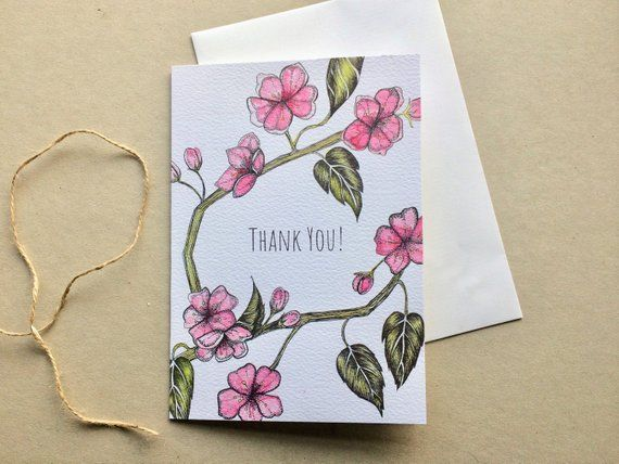 Thank You Greeting Card Japanese Cherry Blossom Card High Quality Thank You Card Nature Garden Funeral Thank You Cards Japanese Cherry Thank You Cards