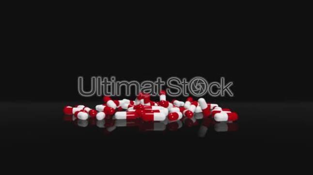 Red White Pills Falling  Black Version