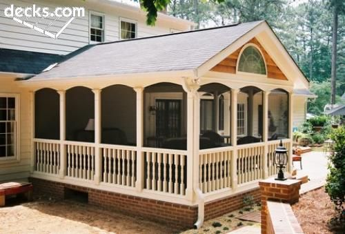 Screen Porch Outside (I like this idea and think it would work on just about any style house)