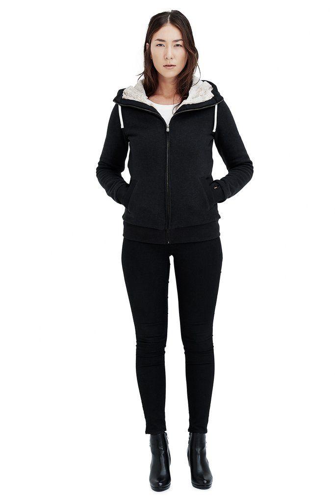 Ladies' Furry Hoodie - Black