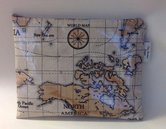 iPad bag pouch sleeve handmade in world maps by JaneHenshawDesigns