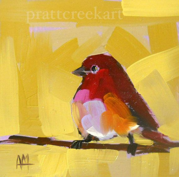purple finch no 6 original bird oil painting by by prattcreekart, $40.00