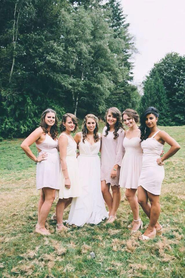 beautiful bridesmaids in blush