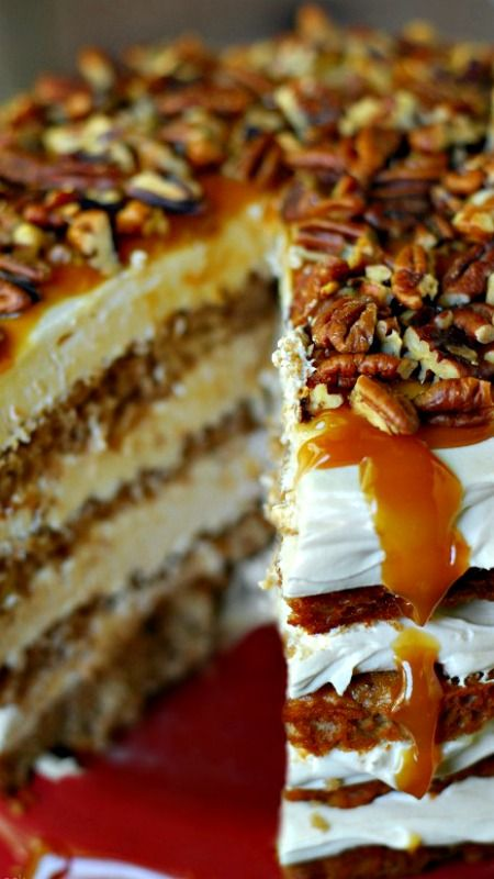Caramel Apple Mousse Cake ~ layers of apple cake and creamy caramel mousse. This apple dessert recipe is perfect for fall!