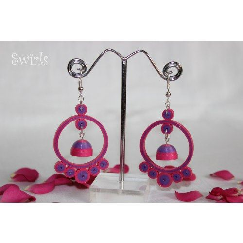 Violet and pink paper quilled jhumkas