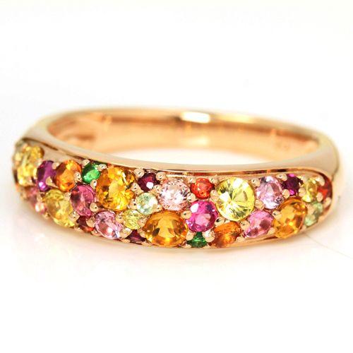 イエローダイヤモンド、マダガスカル産パパラチアサファイア... 11色のマルチカラージュエルを使った、K18カラーゴールド「ブーケ」のパヴェリング ~ミモザブーケ~