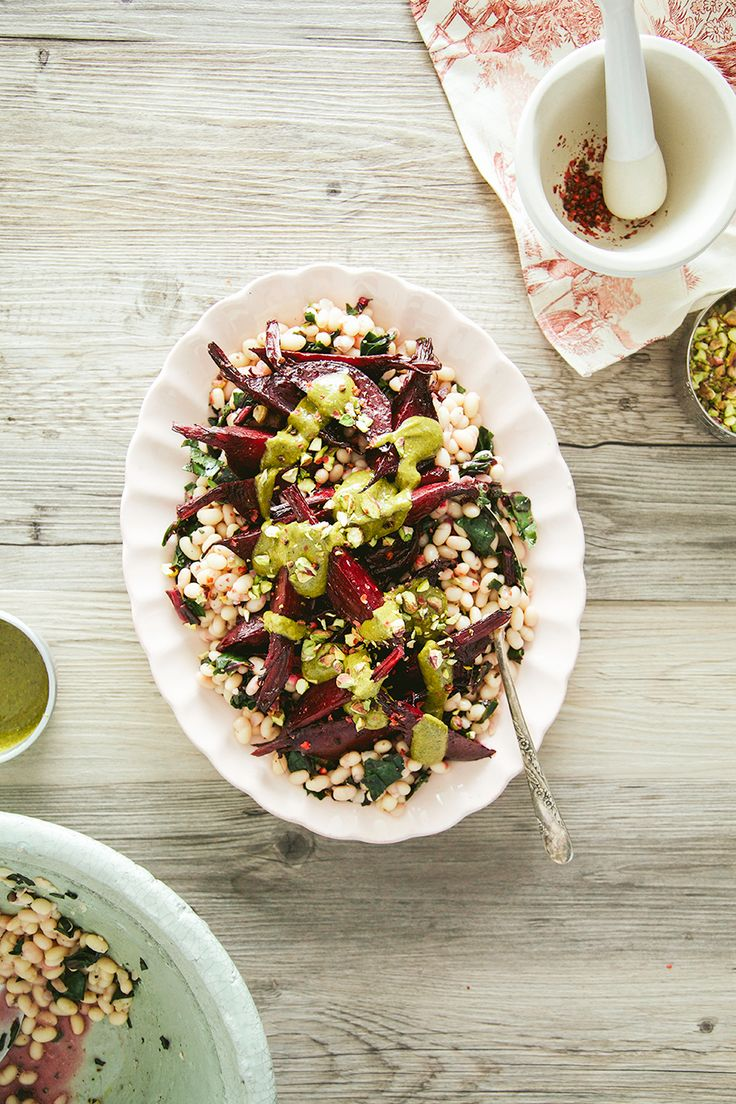 grapefruit roasted beets, greens + white beans with pistachio butter - the first mess