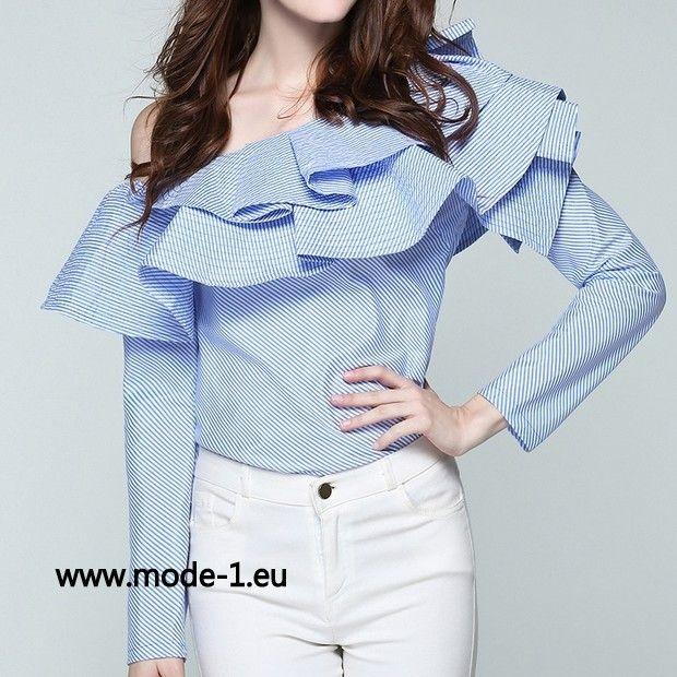 Damen Langarm Bluse in Blau mit Rüschen