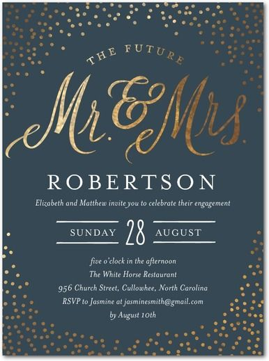 Sparkling Future - Signature White Engagement Party Invitations - Lettering