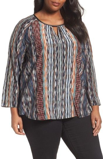 Free shipping and returns on NIC+ZOE Color Streaks Silk Blend Keyhole Top (Plus Size) at Nordstrom.com. Intricate streaks of color and pattern energize a silky, breezy top in a fluid silhouette perfect for layering over slim bottoms.
