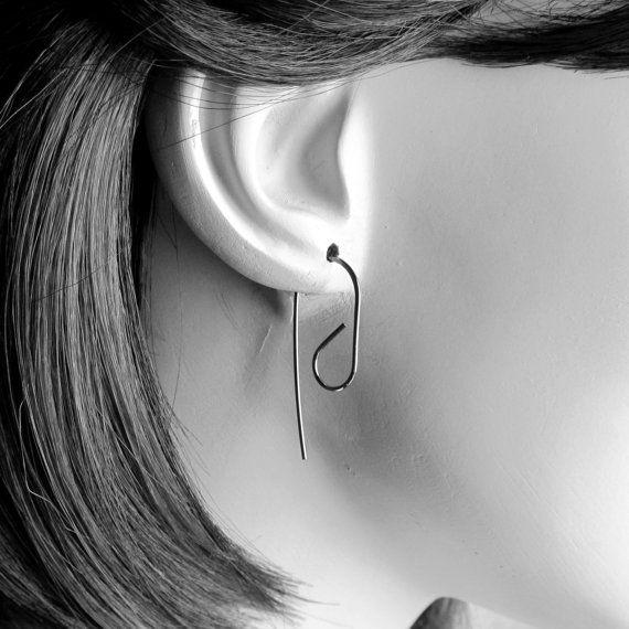 Donker zilveren draad oorbellen met geoxideerde moderne oorbellen, minimalistische hangertjes, Zilveren hangertjes, dagelijks oorbellen, geoxideerd zilver