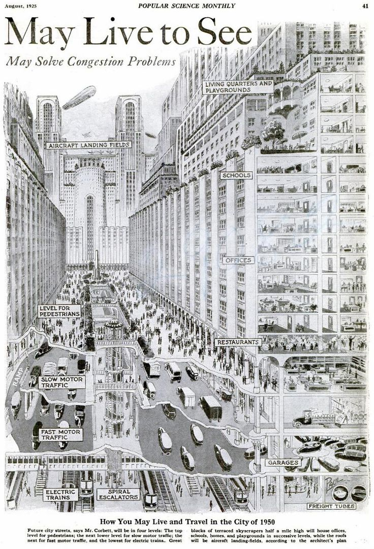 The August, 1925 issue of Popular Science Monthly suggested how urban congestion problems might be solved by the year 1950. Most of what is proposed in this picture is physically possible, but the fact that they thought it could be done in 25 years is strange.