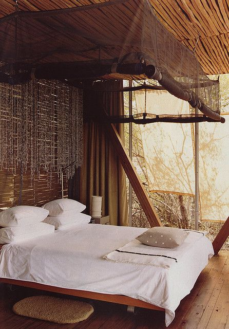 Safari bedroom, Australian Vogue Living << trying to find more images of South African decor, by far the most impressive I've seen.  It has a distinct earthy element and understated sophistication