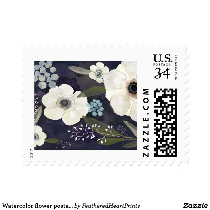 Watercolor flower postage stamp, anemone wedding postage stamps, moody wedding, blue and white wedding