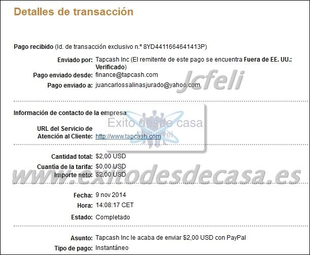 Comprobantes de Pago de Tap Cash Rewards | Dinero en la Red