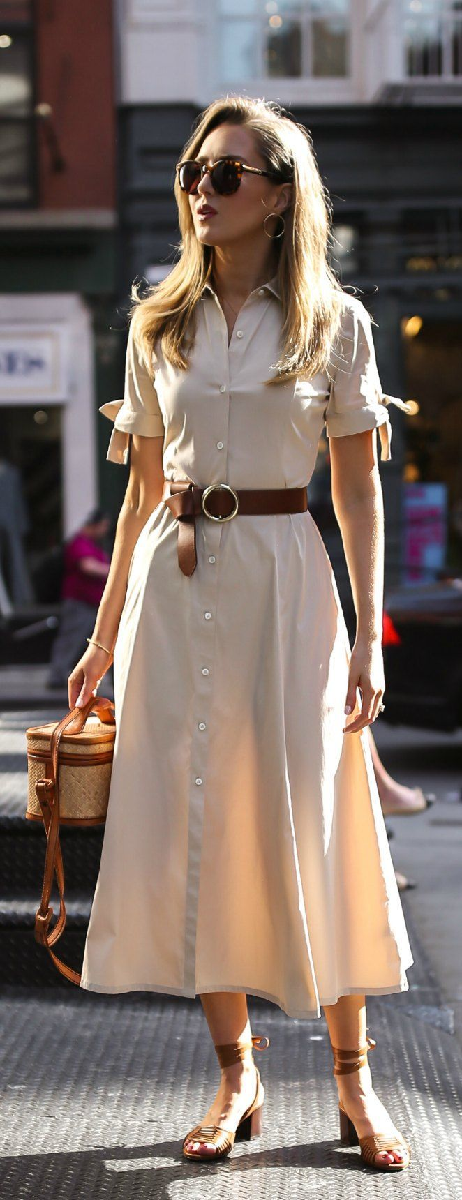 30 Dresses In 30 Days Day 18 Casual Friday Khaki Short Sleeve Button Down Midi Dress Brown Waist Belt Trendy Dresses Casual Dresses Summer Work Outfits [ 1720 x 662 Pixel ]