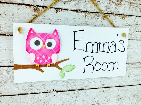 Personalized Owl Kid's Door Sign or by DebbiesCutsAndCrafts, $13.50