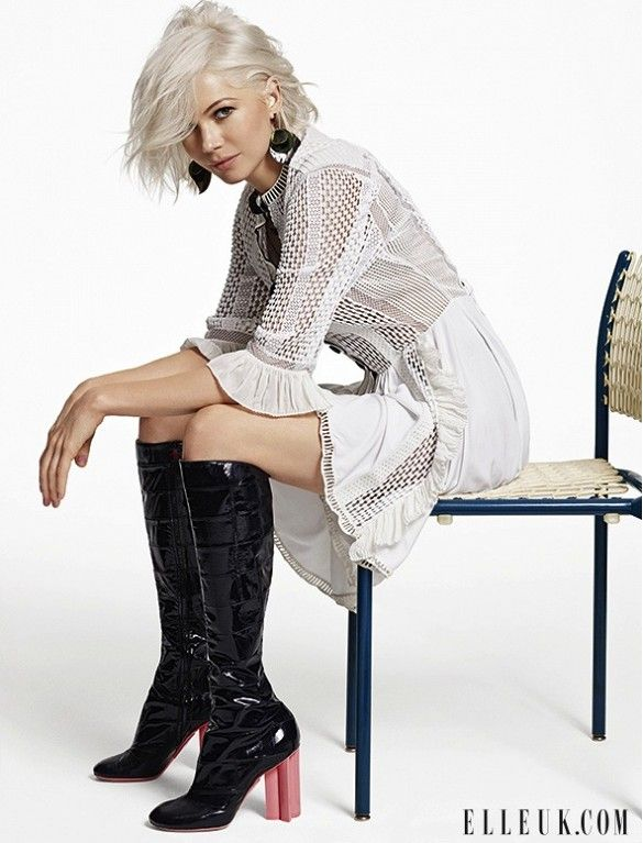 Michelle Williams Goes Bleach Blonde For Elle UK via @WhoWhatWear