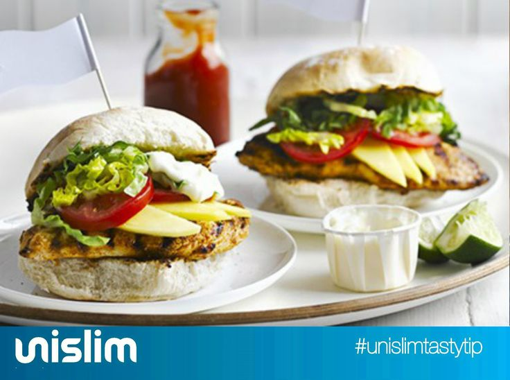 Caribbean Chicken Burgers. Delicious and tangy burgers that go great with some Forever Free Ketchup!