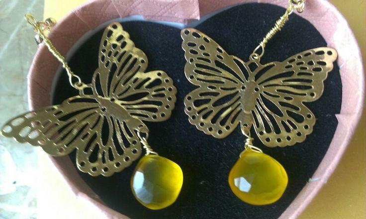 Chalcedony earrings yellow 10 euro OlgAurora on etsy.com