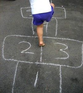 Hopscotch is an easy to create game - you can make it as simple or elaborate as you or the children want. I also like that it encourages numeracy development while incorporating gross motor skills.