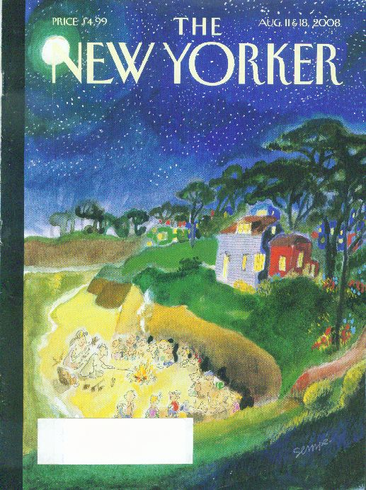 New Yorker cover Sempe round the campfire 8/11 2008
