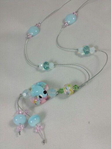 Lampwork glass frog bead necklace handmade by Usha Heidon....