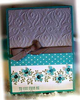 Me, My Stamps and I: Simply Simple, Stamps:  Bordering Blooms, pictogram Punche Paper:  Bermuda Bay, Smoky Slate, Whisper White, Bermuda Bay DSP Ink:  Old Olive, Bermuda Bay Accessories:  grosgrain ribbon, sequins Tools:  Beautifully Baroque, Itty Bitty Accent punch