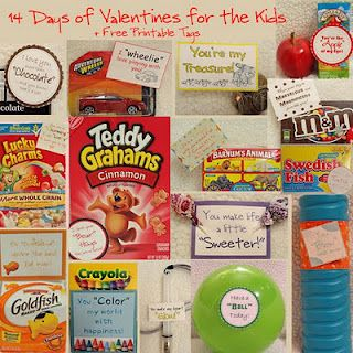 14 Days of Valentine's for your kids or teachers. Free printable tags as well