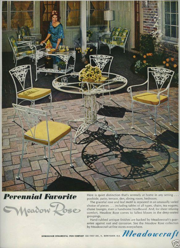 meadowcraft meadow rose ornamental iron patio furniture 1960s decor ad