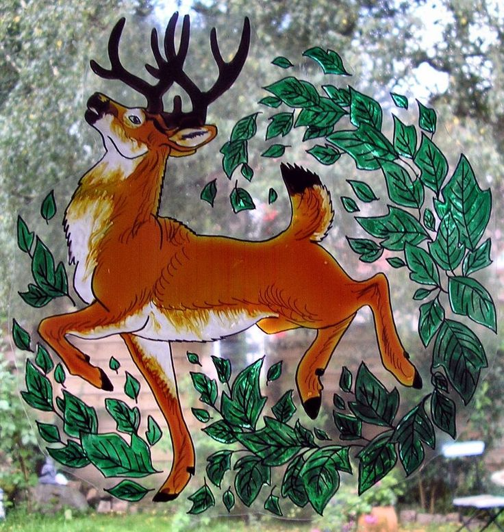 WICOART STICKER WINDOW COLOR CLING FAUX STAINED GLASS LE BRAME DU CERF