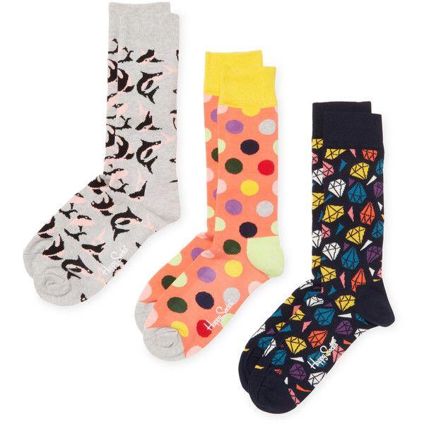 Happy Socks Men's Diamonds & Sharks Socks  - Size 10-13 (24 CAD) ❤ liked on Polyvore featuring men's fashion, men's clothing, men's socks, multi, mens patterned socks, men's mid calf socks and mens socks
