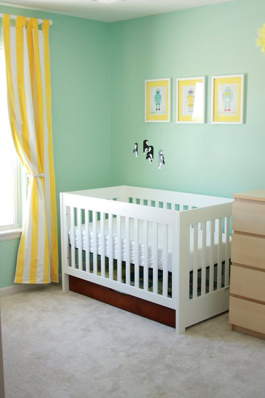 gender neutral nursery - love the cute penguin mobile!