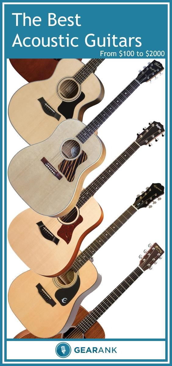 Guide to The Best Acoustic Guitars from $100 to $2000.  This comprehensive guide provides information on everything from tonewoods to strap buttons, in addition to presenting the highest rated acoustic guitar models as determined by the Gearank algorithm.