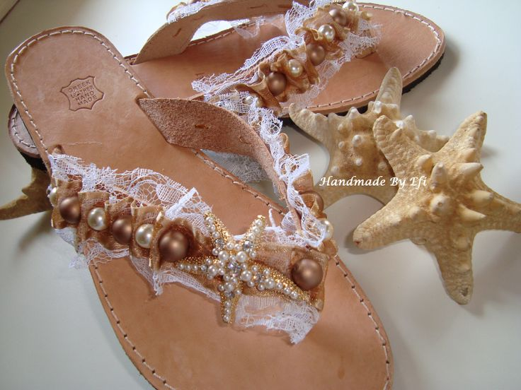 in fashion!!  handmade leather sandals with decorative pearls and stars ...  https://www.facebook.com/pages/Handmade-Creations-by-Efi/187659788043676