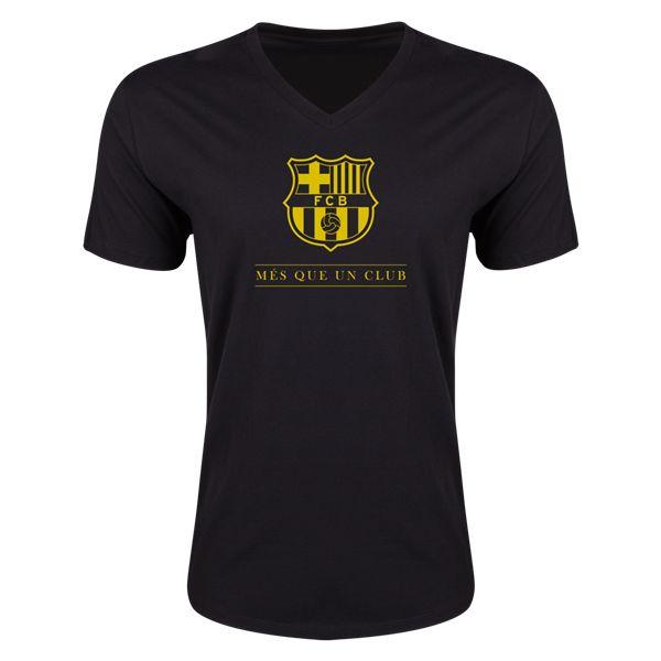 FC Barcelona Mes Que Un Club Small Logo V-Neck T-Shirt (Black)