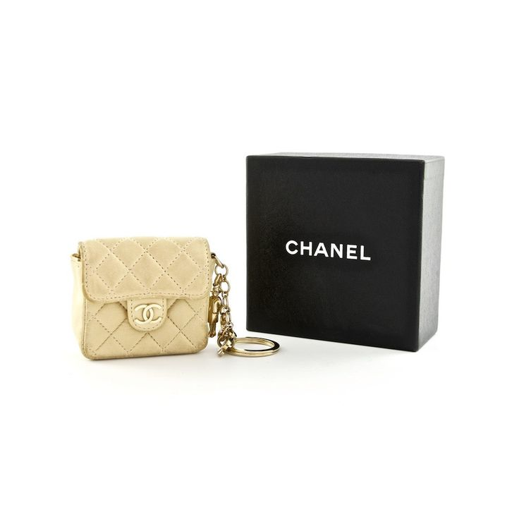 Chanel Beige Quilted Lambskin Mini Flap Bag Charm