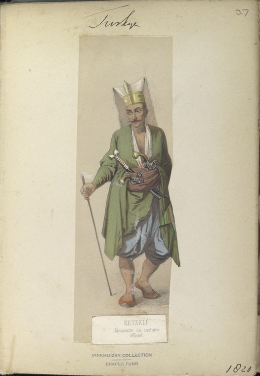 Janissary in full dress. The Vinkhuijzen collection of military uniforms / Turkey, 1818. See McLean's Turkish Army of 1810-1817.