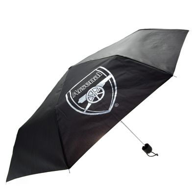 ARSENAL FC Telescopic Umbrella. Black with the club crest in white. Official Licensed Arsenal FC Gift. FREE DELIVERY ON ALL OF OUR GIFTS