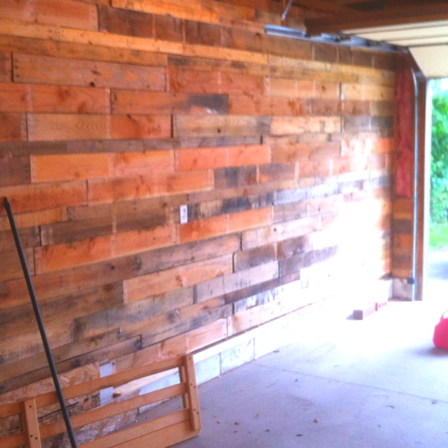 Repurposed pallets for garage walls house stuff