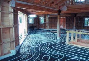 #heating #gimme shelter In-floor radiant tubing in place prior to pouring thin concrete slab. This slab will also act as a thermal mass in this passive solar designed home. Tile will be the finished surface on the slab. Tubing could supply solar-heated hydronic fluid or conventional boiler fired water.