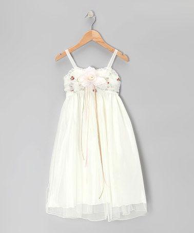 Look at this #zulilyfind! Ivory & Brown Rose Babydoll Dress - Toddler & Girls #zulilyfinds