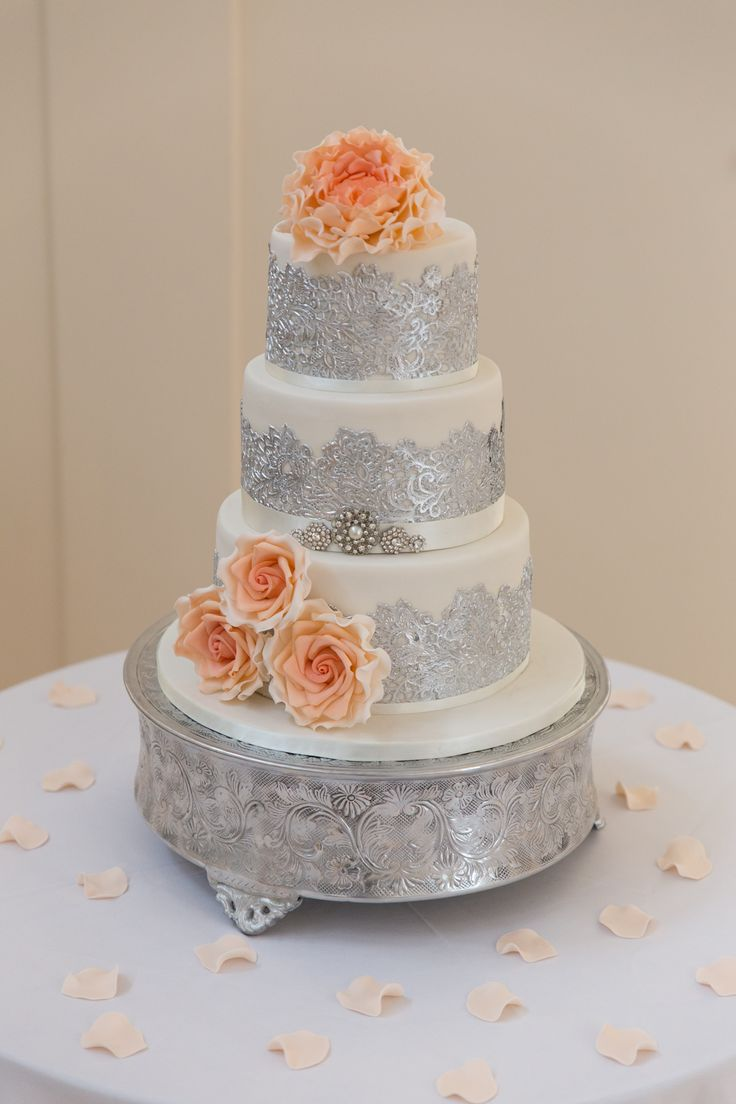 white wedding cake designs ivory silver lace and coral and ombre flowers 27343